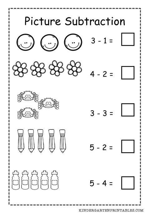 basic picture subtraction worksheet free printable subtraction worksheets