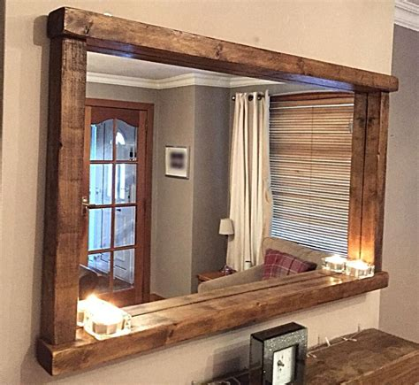 handcrafted rustic farmhouse country style chunky wooden mirror