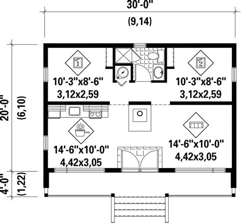 contemporary style house plan 2 beds 1 00