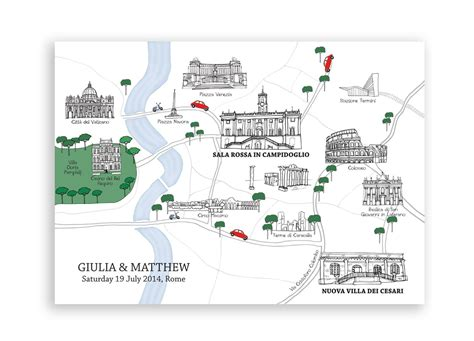 personalised rome wedding map guilia matthew goldfinch design