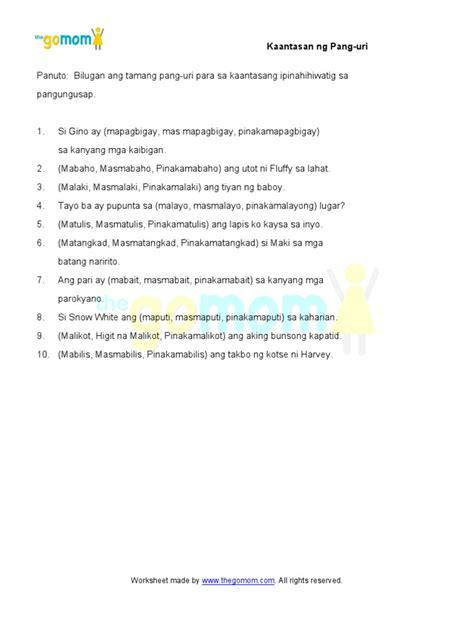 Pang Uri Worksheets Grade 5.html