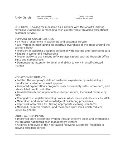 free mcdonald cashier resume template sle ms word