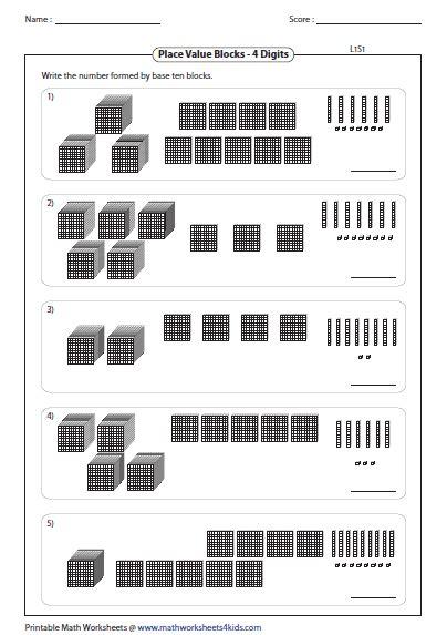 base ten blocks thousands hundreds tens tens worksheets