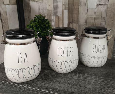 heartlines tea coffee sugar canisters kitchen storage ceramic