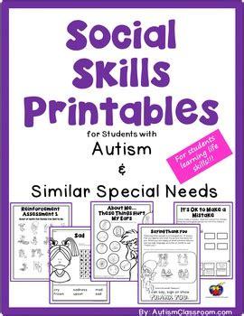 social skills printables fo autism classroom teachers pay