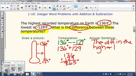 integer word problems addition subtraction youtube