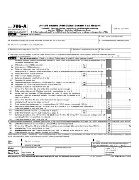 form 706 united states additional estate tax return