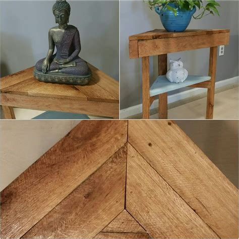 reclaimed wood triangle corner table buy etsy luvmelotsshop