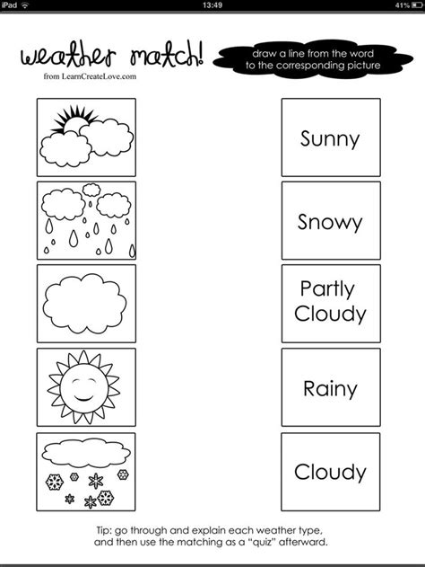 weather word picture match weather pinterest
