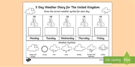 5 day weather diary united kingdom worksheet