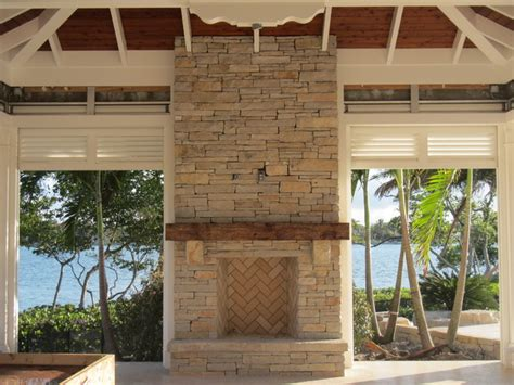 outdoor fireplace wood mantel contemporary patio