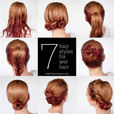ready fast 7 easy hairstyle tutorials wet hair