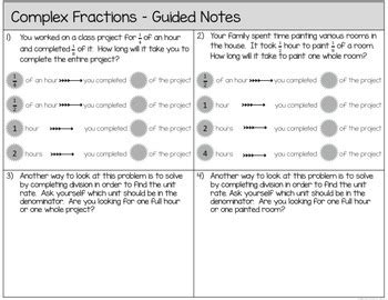 complex fractions unit rates guided notes worksheets assessments