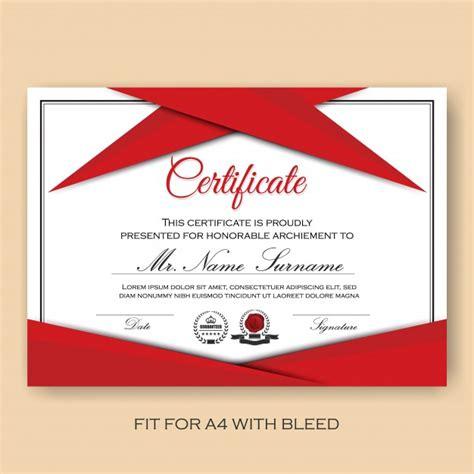 modern geverifieerd certificaat achtergrond sjabloon met rood kleur