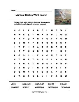 manifest destiny word search grades 3 5 big