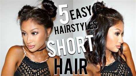 5 easy hairstyles short hair youtube