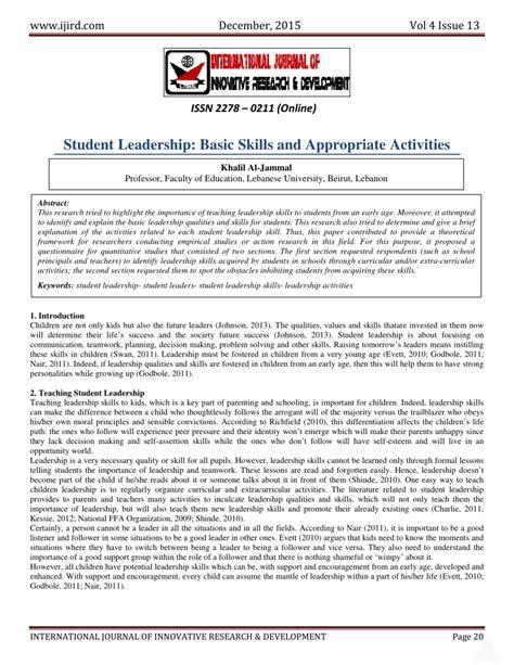 student leadership basic skills activities