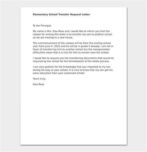 school transfer letter write format sle letters