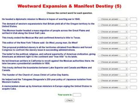 westward expansion manifest destiny 5 8th 12th grade