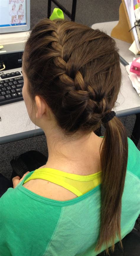 megan awesome athletic hair side french braid volleyball