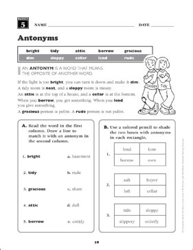 antonyms 3rd grade vocabulary printable games puzzles skills