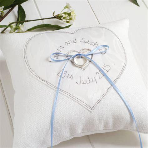 personalised wedding ring cushion milly pip notonthehighstreet