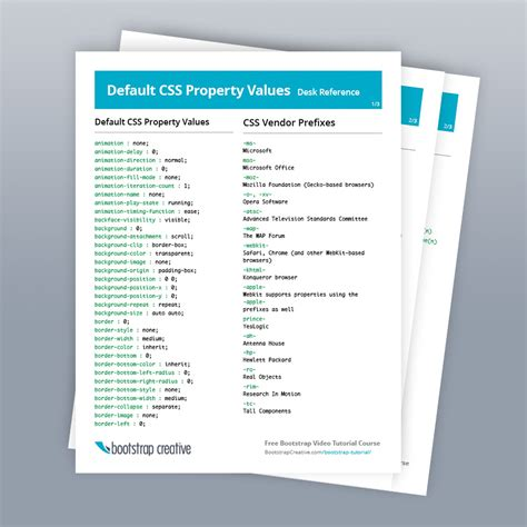 css properties list reference cheat sheet free download