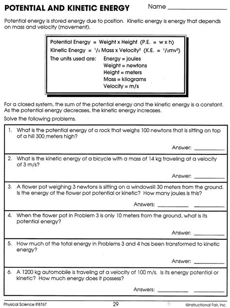 Kinetic And Potential Energy Calculations Worksheet Answers.html