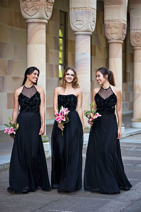 perfect long black bridesmaids dresses chic vintage brides
