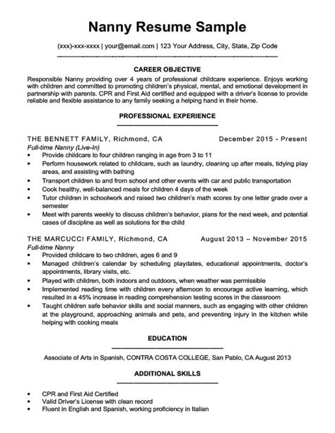 nanny resume sle writing tips resume companion