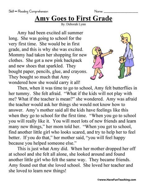 amy grade reading comprehension worksheet fun teaching