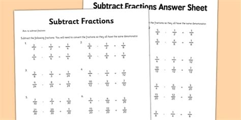 year 6 fractions worksheet subtraction primary resource