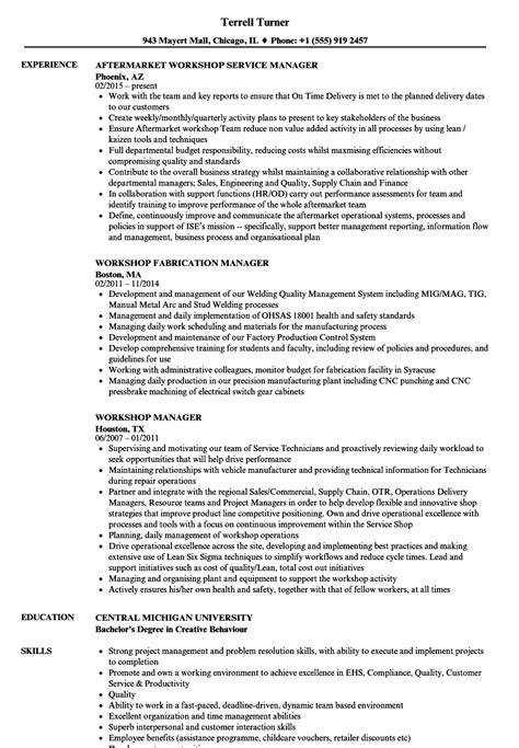workshop manager resume sles velvet jobs