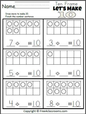 free 10 addition worksheet kindergarten math addition math