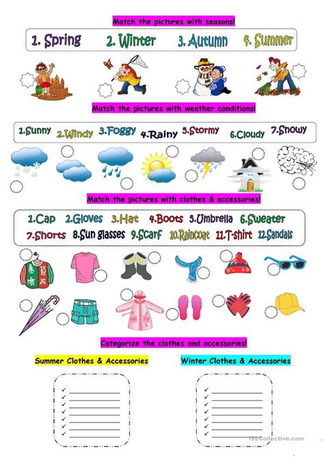 weather seasons clothes worksheet free esl printable worksheets