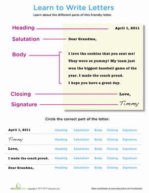 parts letter worksheet education