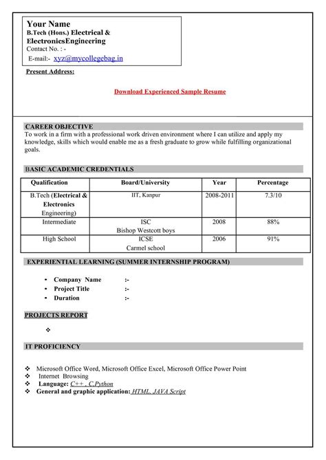 calamé resume format freshers download