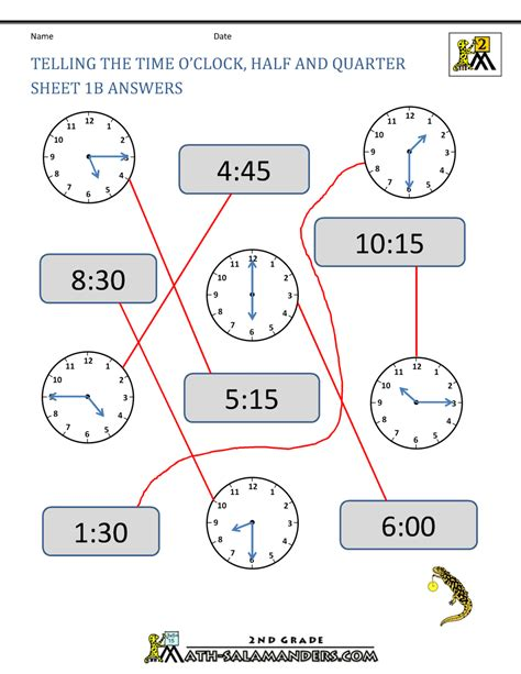 time worksheet clock quarter
