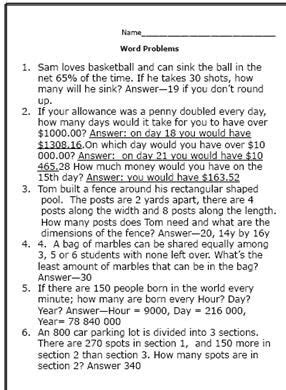 practice math skills 7th grade worksheets word problems