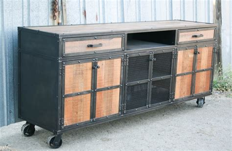 reclaimed wood media console credenza combine 9 industrial