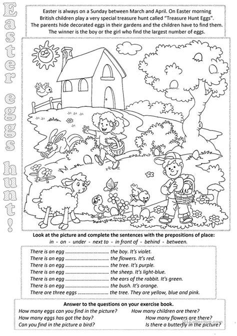 easter eggs everywere worksheet free esl printable worksheets