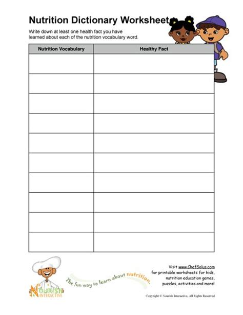 printable nutrition vocabulary word healthy facts worksheet