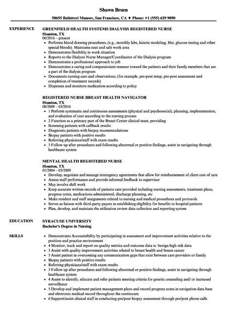 registered nurse health resume sles velvet jobs