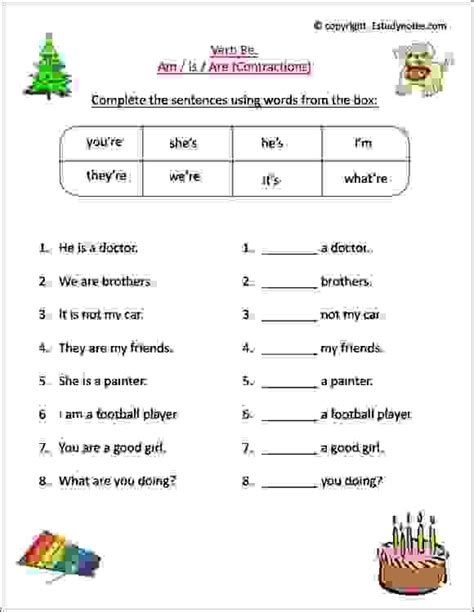 english worksheets grade 1 kids learn verb contractions