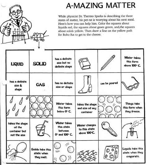 matter worksheets solid liquid gas worksheet science worksheets