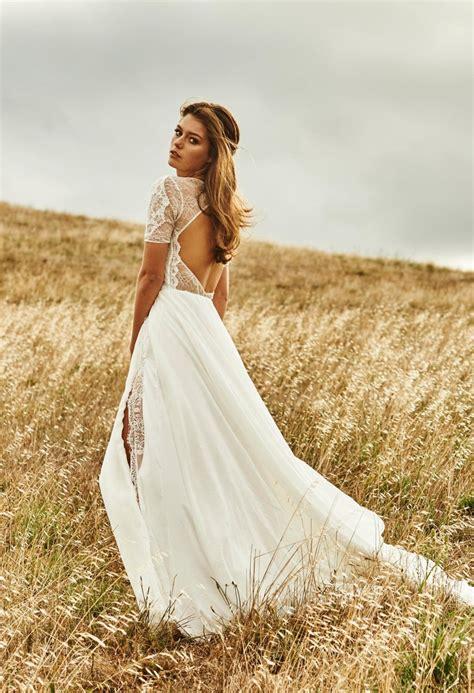 trouwjurk boho lace country style side split bridal