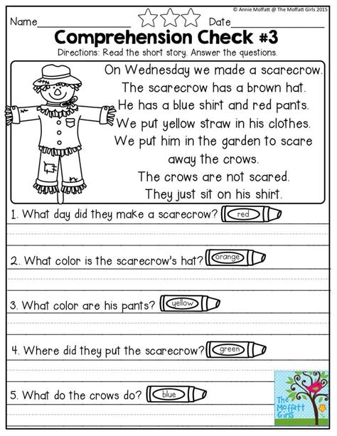reading comprehension checks october prep reading comprehension worksheets