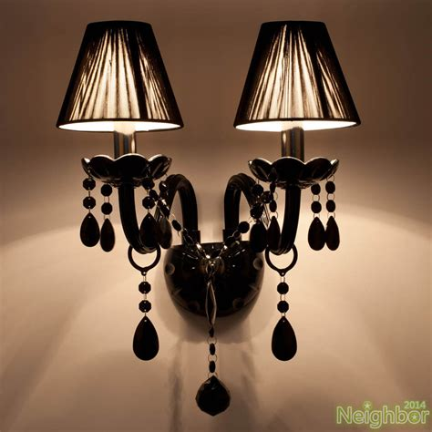 modern black crystal led wall wall sconce