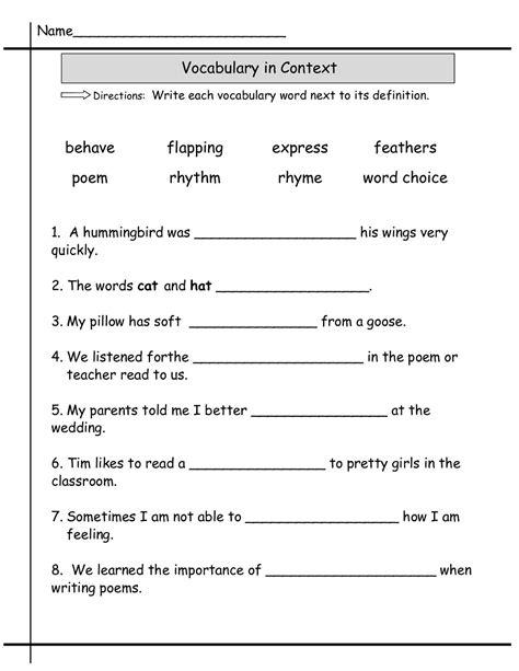 grade worksheets 2nd grade worksheets vocabulary words vocabulary
