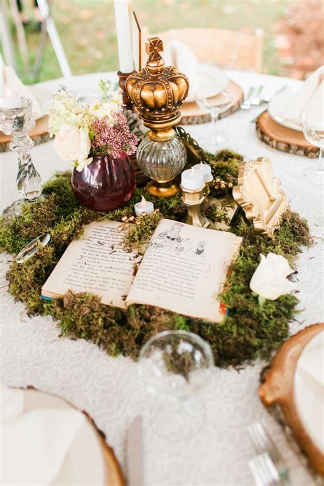 whimsical moss vintage book centerpiece